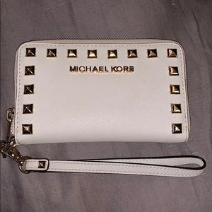 Michael Kors Vanilla Studded Wristlet